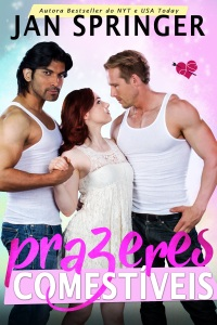Book cover with two men standing with one red haired woman in the middle