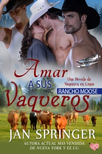 Cover with three cowboys and a woman. Cattle and meadow with white bush plane in sky.